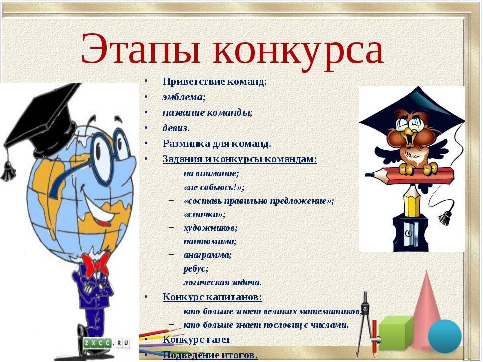 Этапы конкурса Приветствие команд: эмблема; название команды; девиз. Разминка...