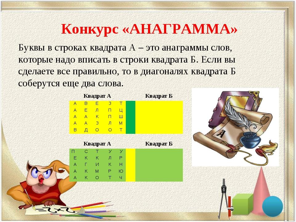 Конкурс «АНАГРАММА» Буквы в строках квадрата А – это анаграммы слов, которые...