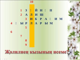 10  1ЗӘЙНӘП 2АЛИШ 3ИБРАҺИМ 4ҖЫРЛАРЫМ