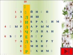10 Җ 1ЗӘЙНӘП 2АЛИШ 3ИБРАҺИМ 4ҖЫРЛАРЫМ