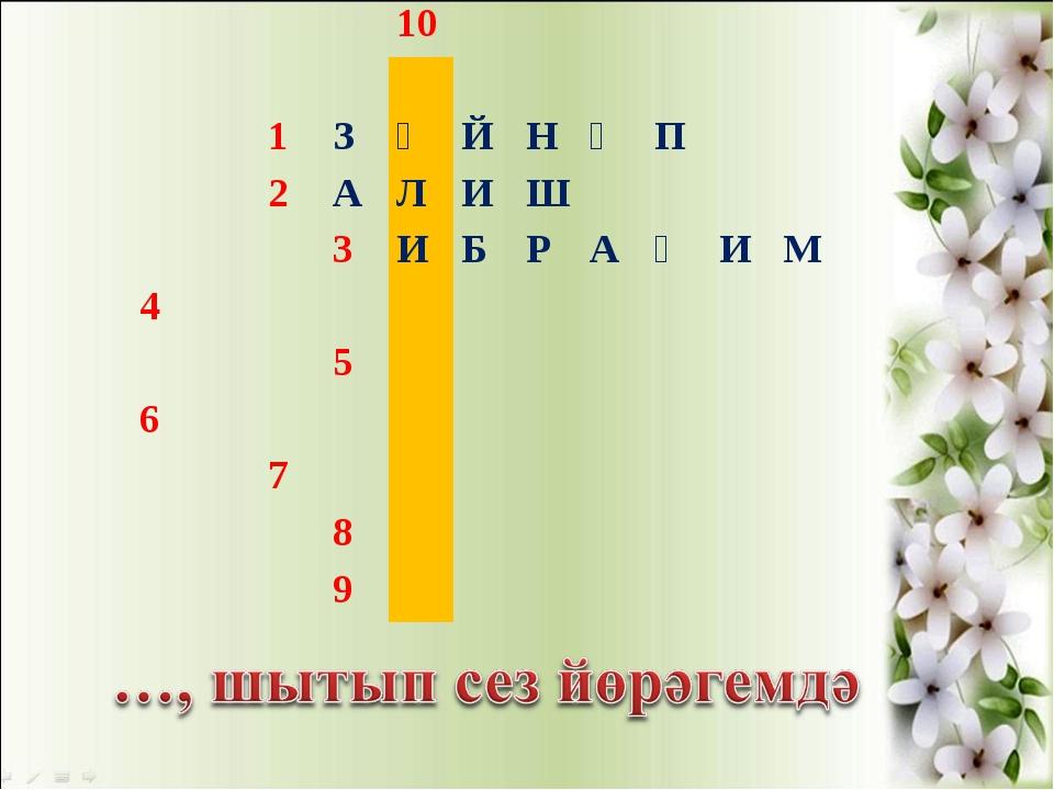 10  1ЗӘЙНӘП 2АЛИШ 3ИБРАҺИМ 4 5...