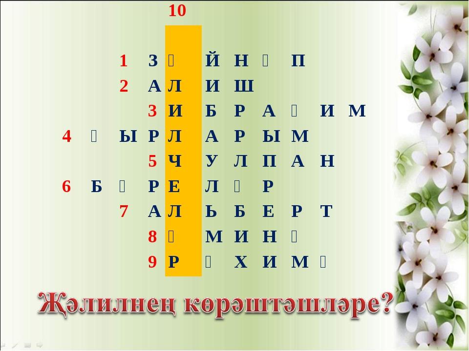10  1ЗӘЙНӘП 2АЛИШ 3ИБРАҺИМ 4ҖЫРЛАРЫМ...