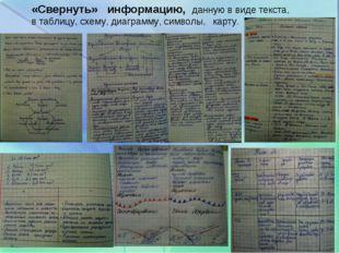 «Свернуть» информацию, данную в виде текста, в таблицу, схему, диаграмму,