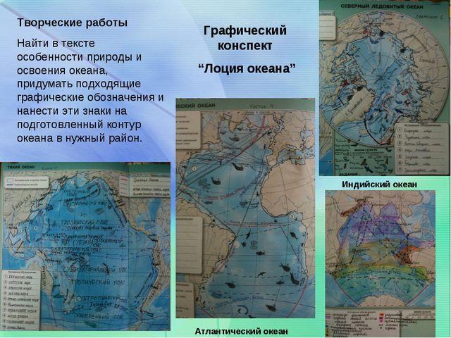"""Графический конспект """"Лоция океана"""" Творческие работы Найти в тексте особенно..."""