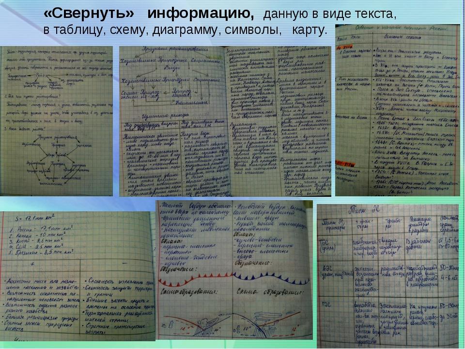 «Свернуть» информацию, данную в виде текста, в таблицу, схему, диаграмму,...
