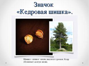 Значок «Кедровая шишка». Шишка - символ земли, высокого урожая. Кедр обознача