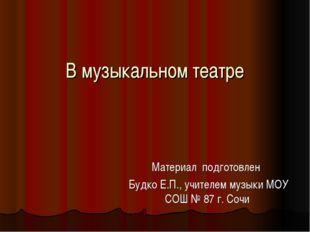 В музыкальном театре Материал подготовлен Будко Е.П., учителем музыки МОУ СОШ