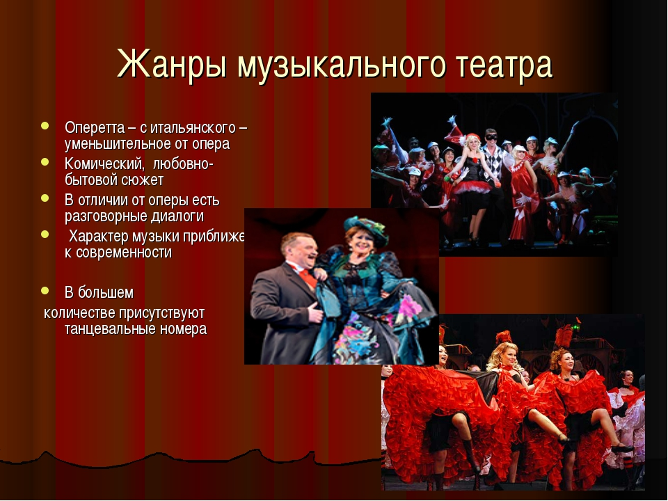 Жанры музыкального театра Оперетта – с итальянского –уменьшительное от опера...