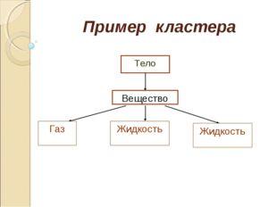 Пример кластера Тело Вещество Газ Жидкость Жидкость