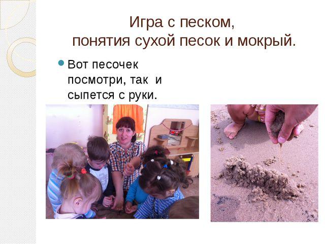Игра с песком, понятия сухой песок и мокрый. Вот песочек посмотри, так и сыпе...
