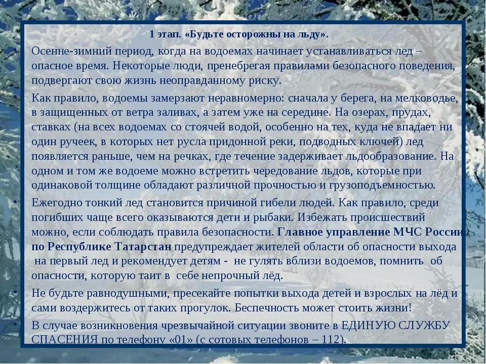 1 этап. «Будьте осторожны на льду». Осенне-зимний период, когда на водоемах н...