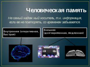 Человеческая память Не самый надежный носитель, т.к. информация, если ее не п