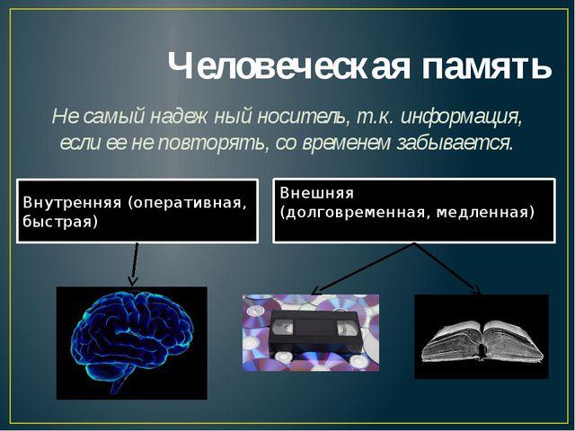 Человеческая память Не самый надежный носитель, т.к. информация, если ее не п...