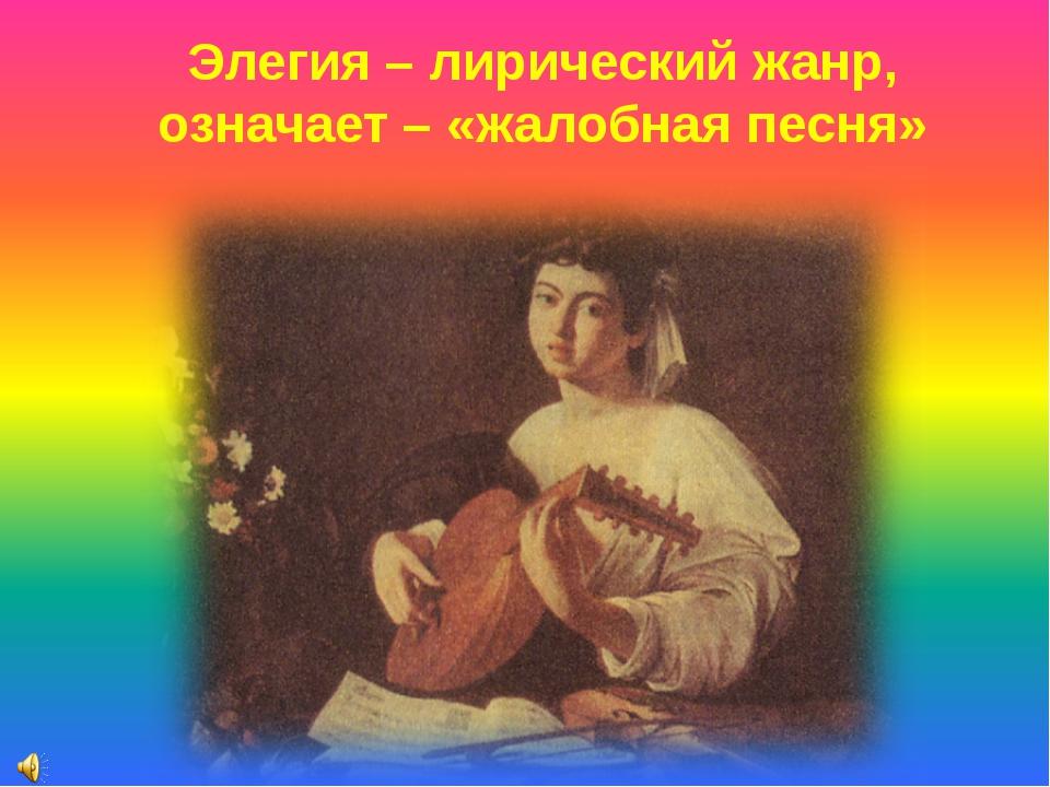 Элегия – лирический жанр, означает – «жалобная песня»