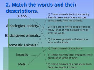 2. Match the words and their descriptions. A zoo A zoological society Endange