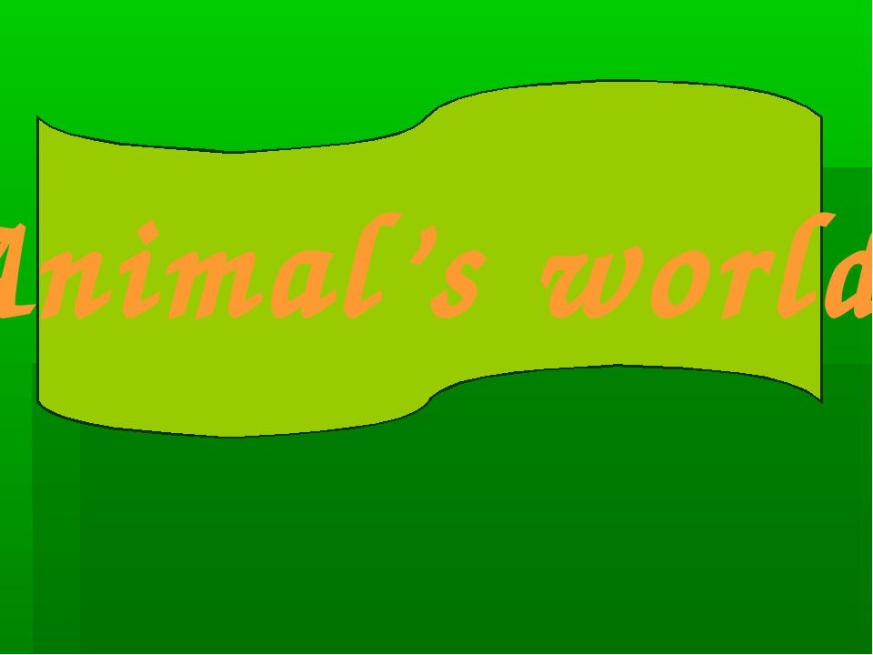 Animals' world. Animal's world.