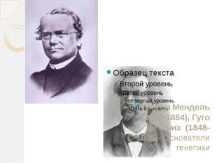 Грегор Мендель (1822-1884), Гуго де Фриз (1848-1935)- Основатели генетики