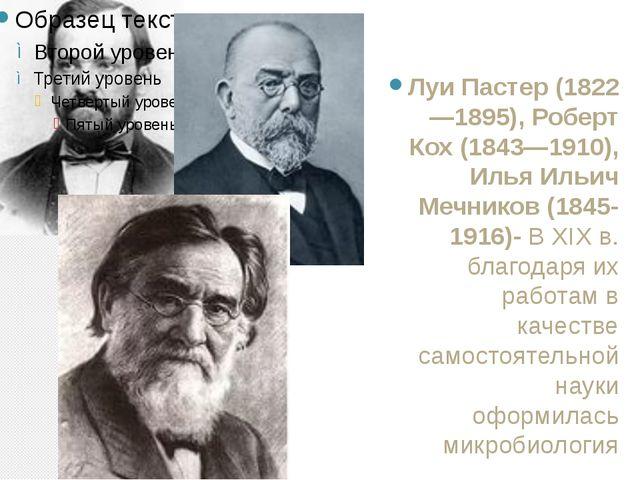 Луи Пастер (1822—1895), Роберт Кох (1843—1910), Илья Ильич Мечников (1845-191...
