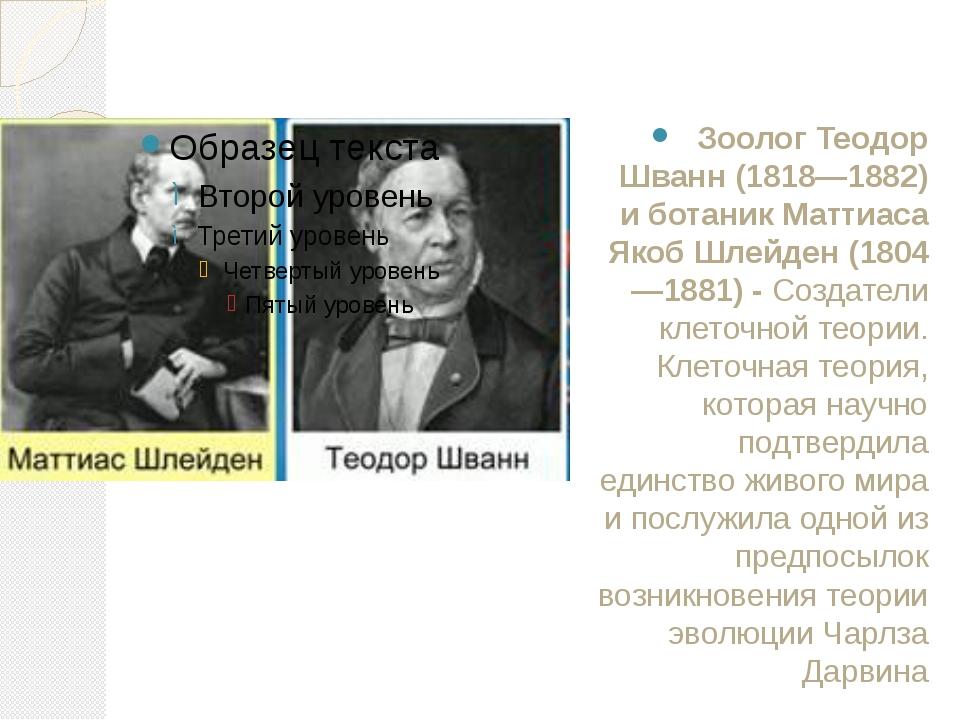 Зоолог Теодор Шванн (1818—1882) и ботаник Маттиаса Якоб Шлейден (1804—1881)-...
