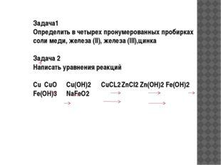 Задача1 Определить в четырех пронумерованных пробирках соли меди, железа (II)