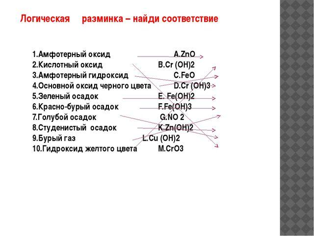 Логическая разминка – найди соответствие 1.Амфотерный оксид А.ZnО 2.Кисло...