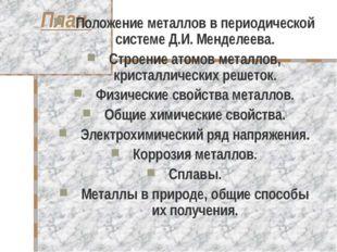 План Положение металлов в периодической системе Д.И. Менделеева. Строение ато