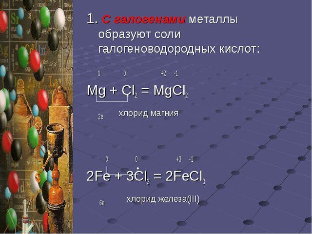 1. С галогенами металлы образуют соли галогеноводородных кислот: 0 0 +2 -1 Mg...