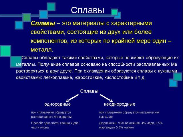 Сплавы Сплавы обладают такими свойствами, которые не имеют образующие их мет...