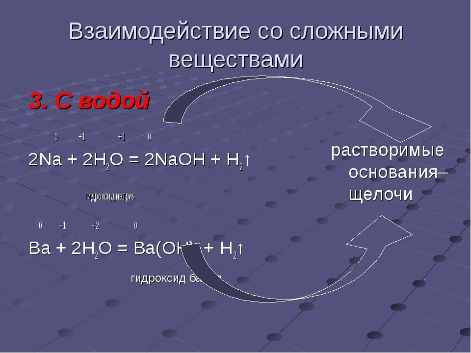Взаимодействие со сложными веществами 3. С водой 0 +1 +1 0 2Na + 2H2O = 2NaOH...