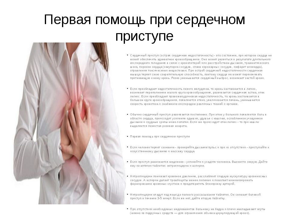 Первая помощь при сердечном приступе Сердечный приступ (острая сердечная недо...