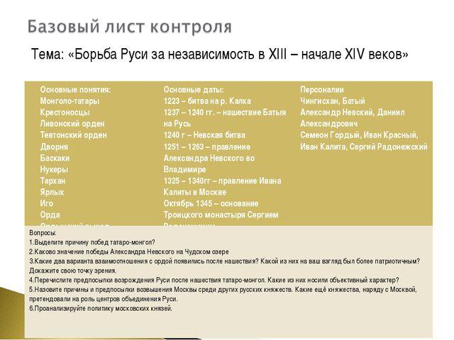 Тема: «Борьба Руси за независимость в XIII – начале XIV веков» Основные поня...