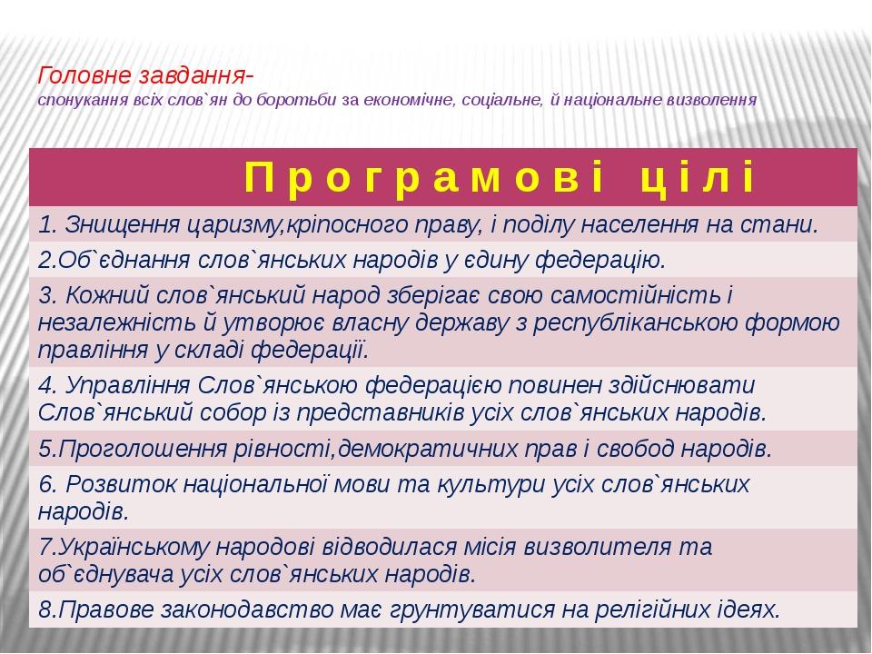 Головне завдання- спонукання всіх слов`ян до боротьби за економічне, соціальн...