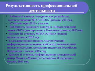Результативность профессиональной деятельности Районный конкурс методических