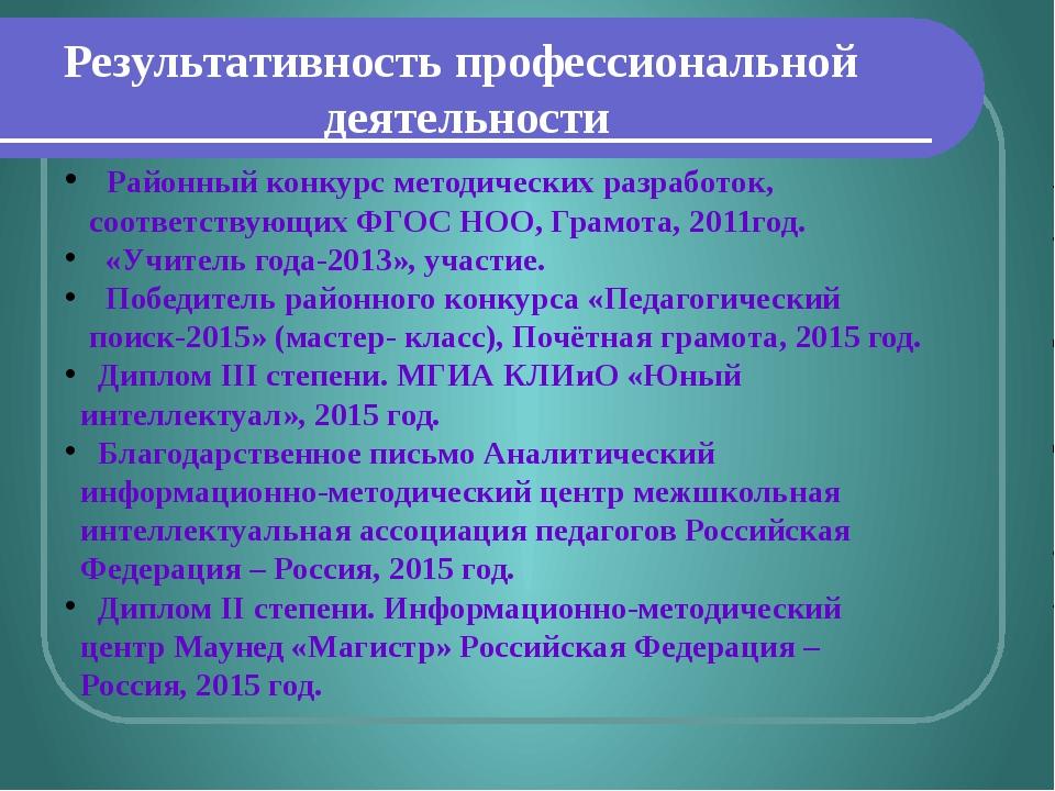 Результативность профессиональной деятельности Районный конкурс методических...