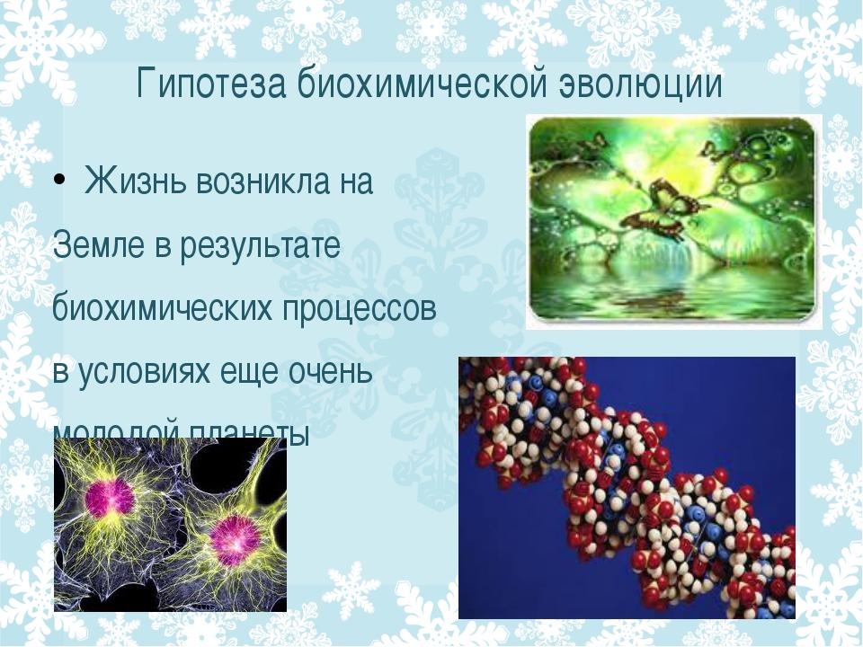 Гипотеза биохимической эволюции Жизнь возникла на Земле в результате биохимич...