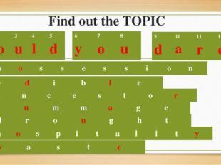 Find out the TOPIC p o s s e s s i o n e d i b l e 1 W 2 o 3 u 4 l 5 d 6 y 7