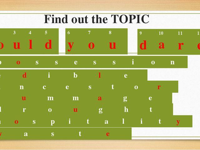 Find out the TOPIC p o s s e s s i o n e d i b l e 1 W 2 o 3 u 4 l 5 d 6 y 7...