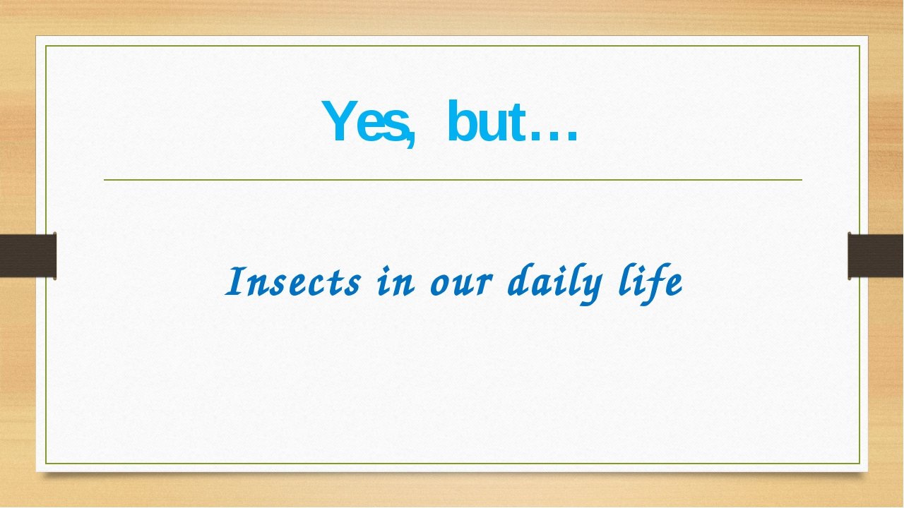 Yes, but…  Insects in our daily life