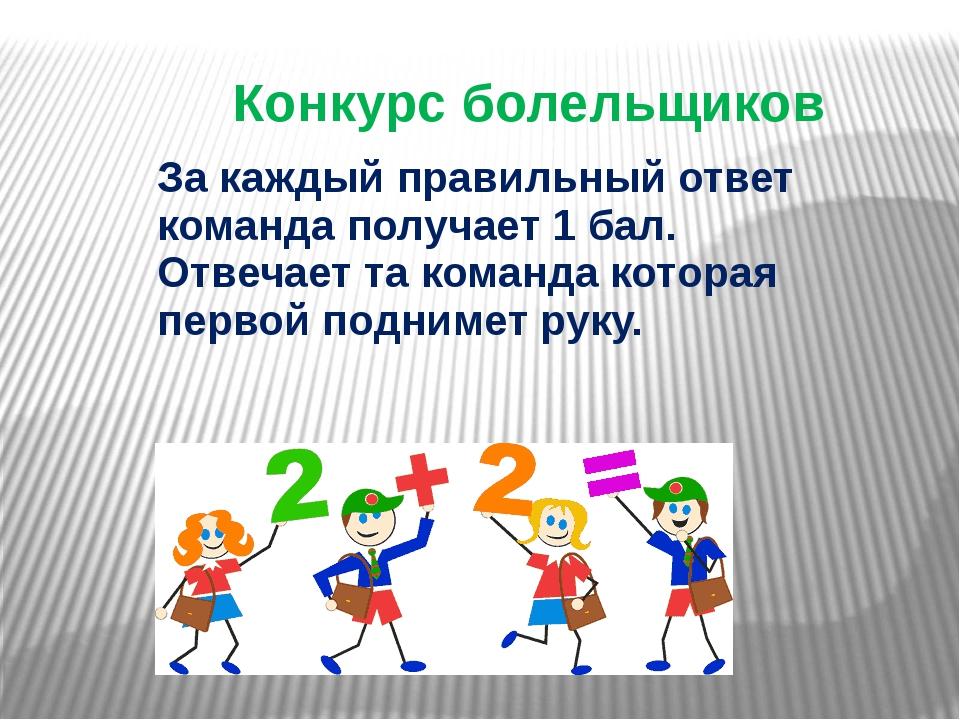 Конкурс болельщиков За каждый правильный ответ команда получает 1 бал. Отвеча...