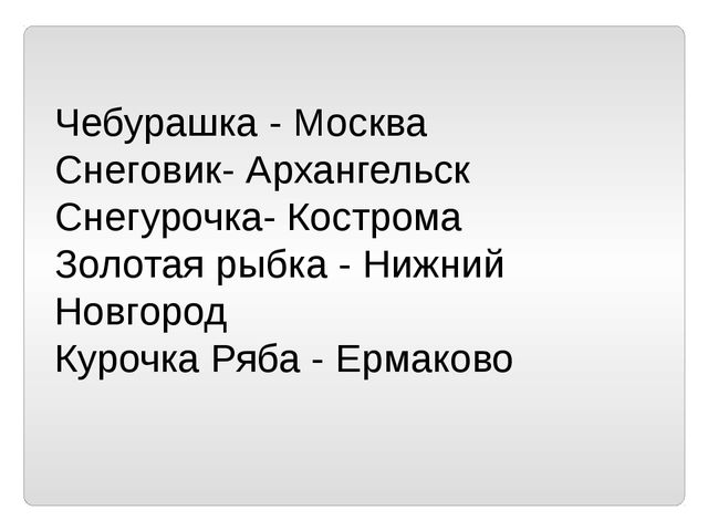 Чебурашка - Москва Снеговик- Архангельск Снегурочка- Кострома Золотая рыбка -...