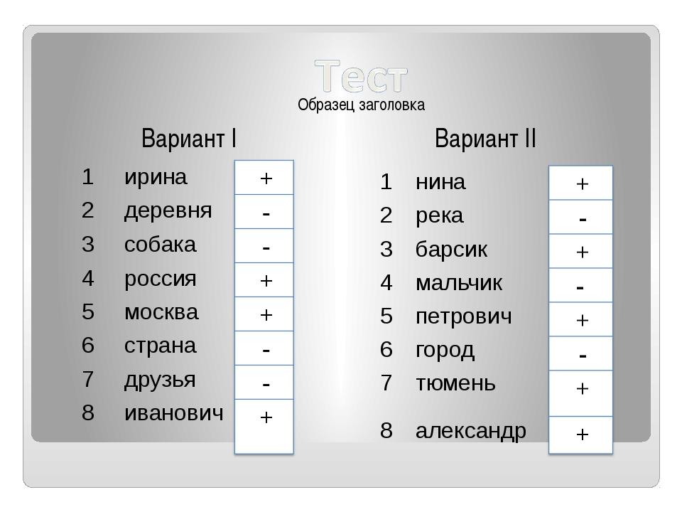 Вариант I Вариант II 1 ирина 2 деревня 3 собака 4 россия 5 москва 6 страна 7...