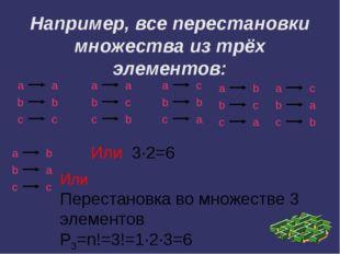Например, все перестановки множества из трёх элементов: