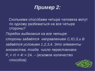 Пример 2:    Сколькими способами четыре человека могут по одному разбежаться