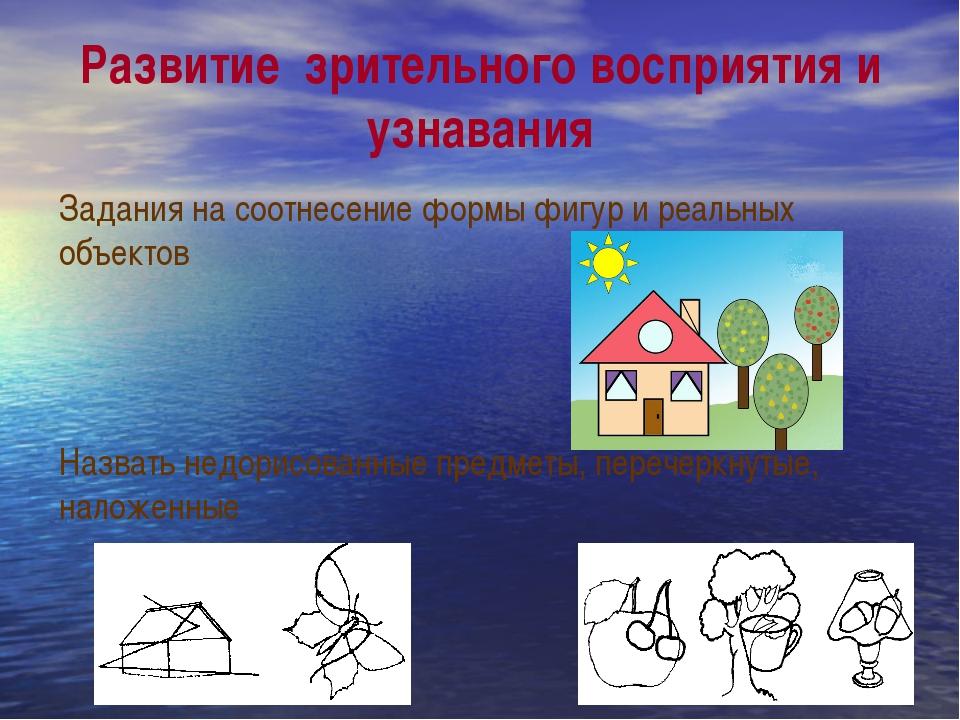 Развитие  зрительного восприятия и узнавания Задания на соотнесение формы фи...