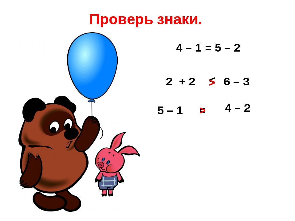 Проверь знаки. 4 – 1 = 5 – 2 2 + 2 6 – 3 < 5 – 1 < 4 – 2 > >