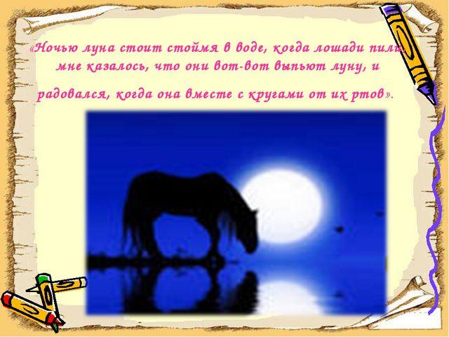 «Ночью луна стоит стоймя в воде, когда лошади пили, мне казалось, что они вот...