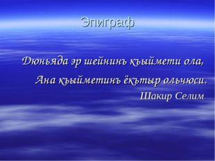 Эпиграф Дюньяда эр шейнинъ къыймети ола, Ана къыйметинъ ёкътыр ольчюси. Шакир