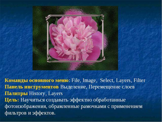 Команды основного меню: File, Image, Select, Layers, Filter Панель инструмент...