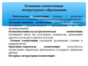Основные компетенции литературного образования Читательская компетенция (свя