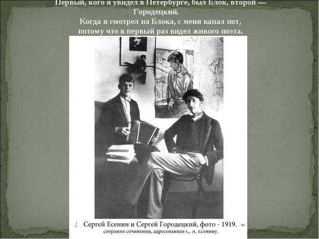 Первый, кого я увидел в Петербурге, был Блок, второй — Городецкий. Когда я см...